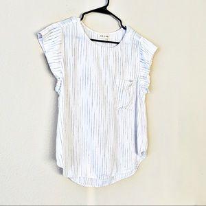 Cloth & Stone Ruffle Sleeve Stripe Print Linen Top